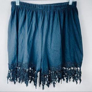 Vintage Cotton Lace Soft Pull On Black Shorts